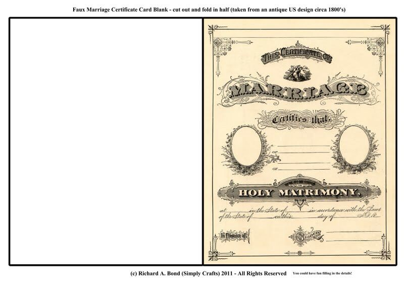 Vintage Wedding Card Marriage Certificate Printable  Party