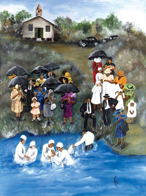 Baptism In The River The Old Church In 2019 Black Art