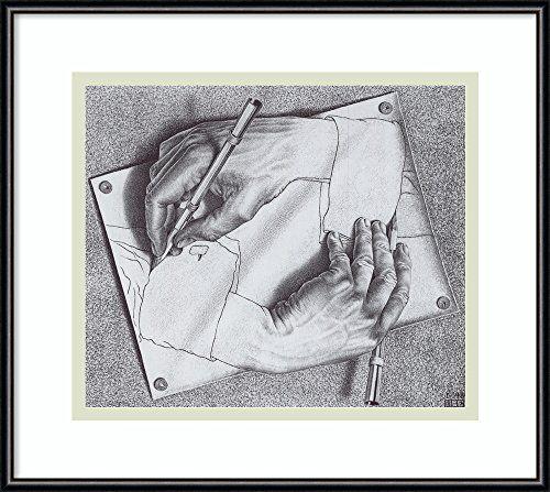 Framed Art Print Drawing Hands by 'M. C. Escher' Amanti Art
