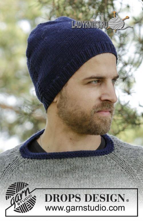 7d8c47968a46 Простая мужская шапка спицами, описание | Вязаные мужские шапки ...