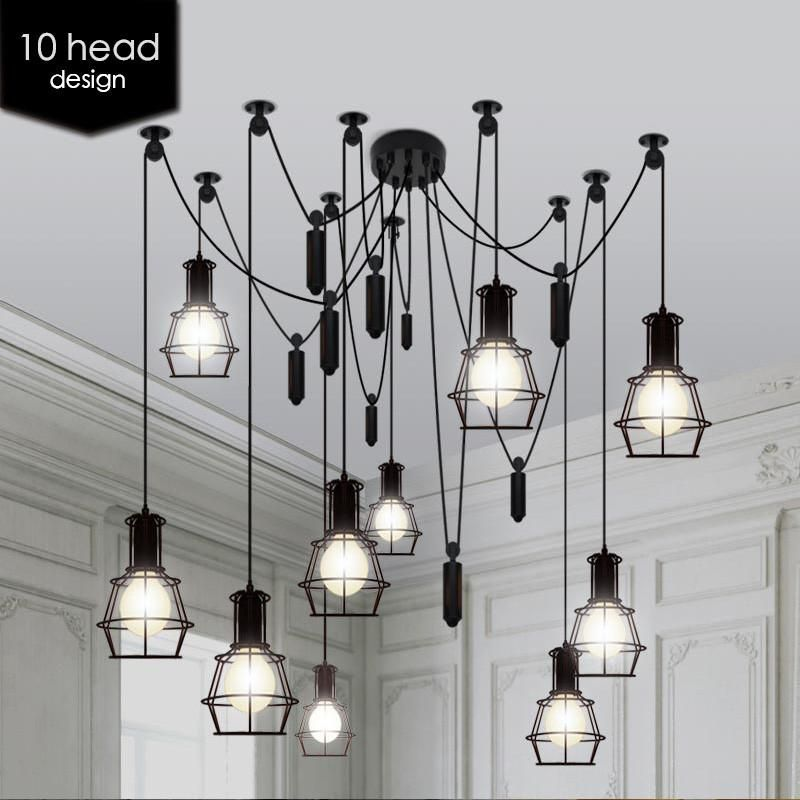 10 light adjustable cable chandelier black: Tudo and Co