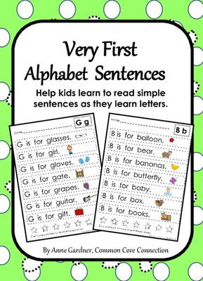 Common Core Connection  from  Very First Alphabet Sentences on TeachersNotebook.com -  (28 pages) - Very First Alphabet Sentences help kids learn to read simple sentences as they work on letter identification skills.
