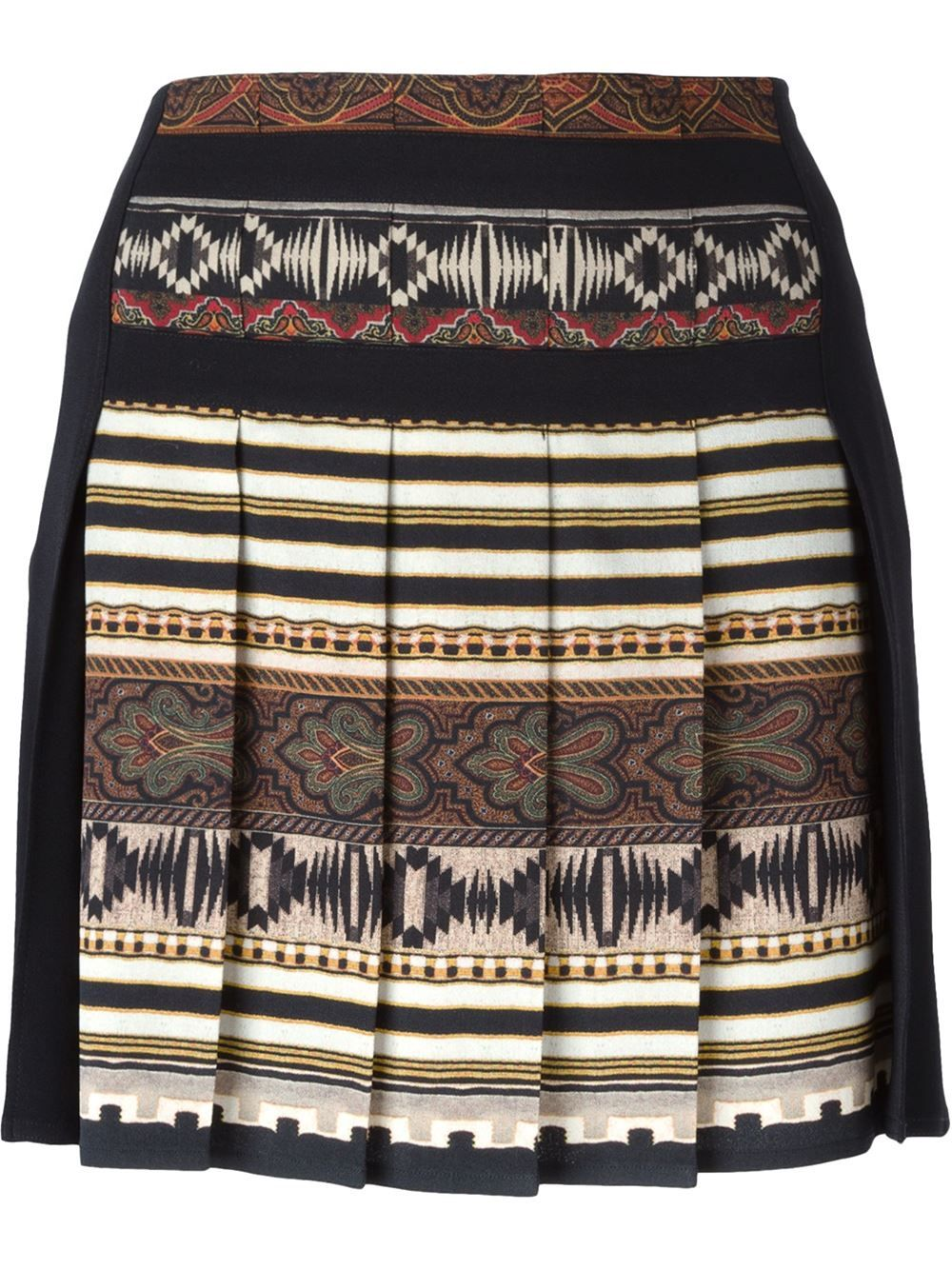 Shop Etro aztec print pleated skirt in Russo Capri from the world's best…