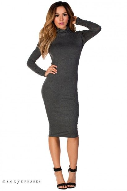 Corinne Gray Jersey Turtleneck Long Sleeve Backless Midi Dress Dresses Hobble Skirt Dress Skirt