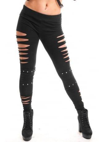 Thrill Leggings Slashed Leggings Leggings Uk Gothic Trousers