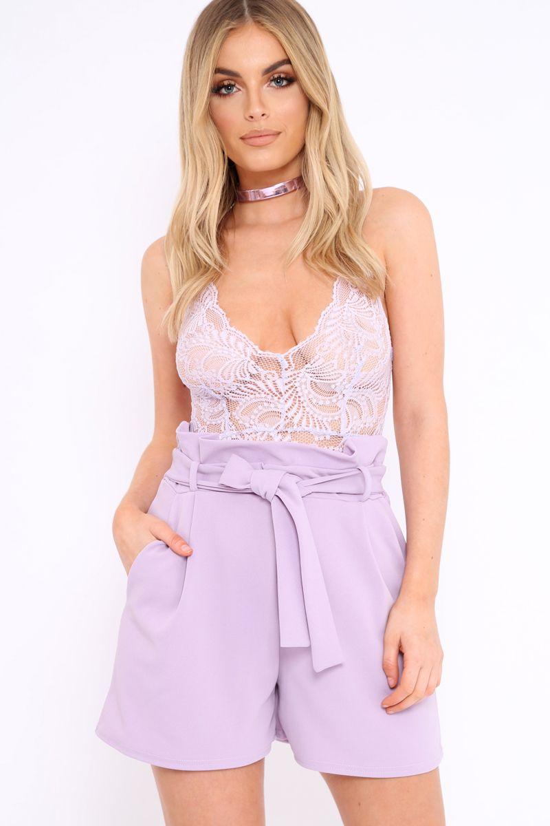 Lilac Lace Cross Back Bodysuit - Brogan  718148e89