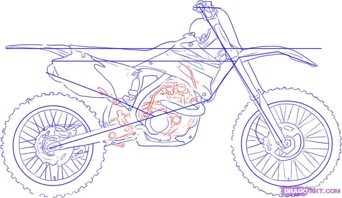 How To Draw A Dirt Bike By Dawn Harley Davidson Poster Harley