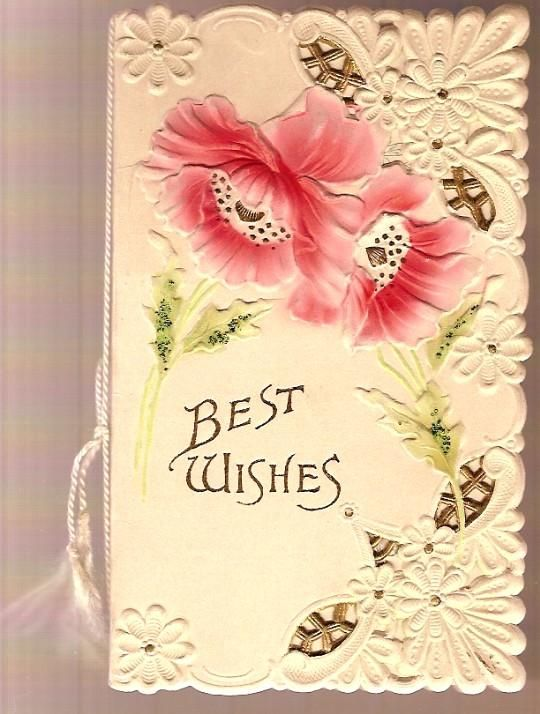 Vintage greeting cards vintage victorian die cut best wishes vintage greeting cards vintage victorian die cut best wishes greeting card with flowers m4hsunfo