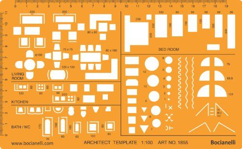Interior Design Furniture Stencils ~ Metric scale architectural drawing template