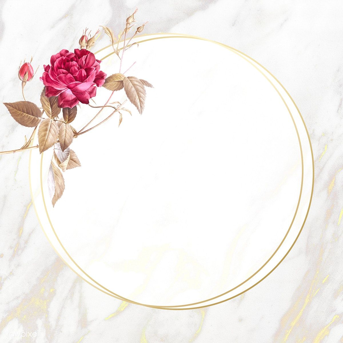 Download Premium Illustration Of Round Flower Frame On Beige Marble Flower Frame Flower Background Iphone Flower Background Wallpaper