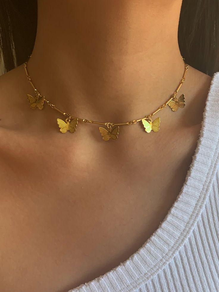Gold Butterfly Choker 825566175426223438