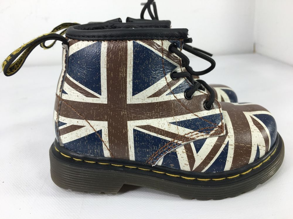 Dr Martens Boots Brooklee Union Jack British Flag Leather Toddler
