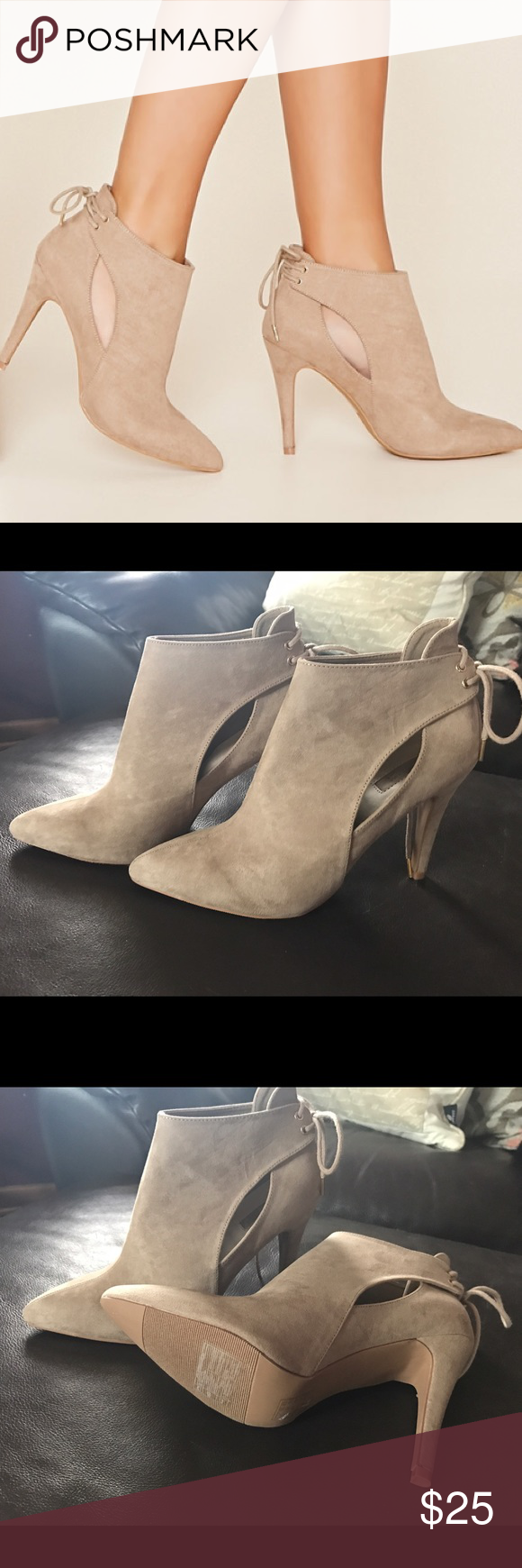 Faux Suede Ankle Booties A Pair Of Faux Suede Ankle Booties With A Stiletto Heel, Cutout Side Detailing, And A Lace-Up Back With High-Polish Grommets.  Brand new- never worn. Purchased the wrong size & cant exchange. Runs small. Would fit 7 1/2 Forever 21 Shoes Ankle Boots & Booties