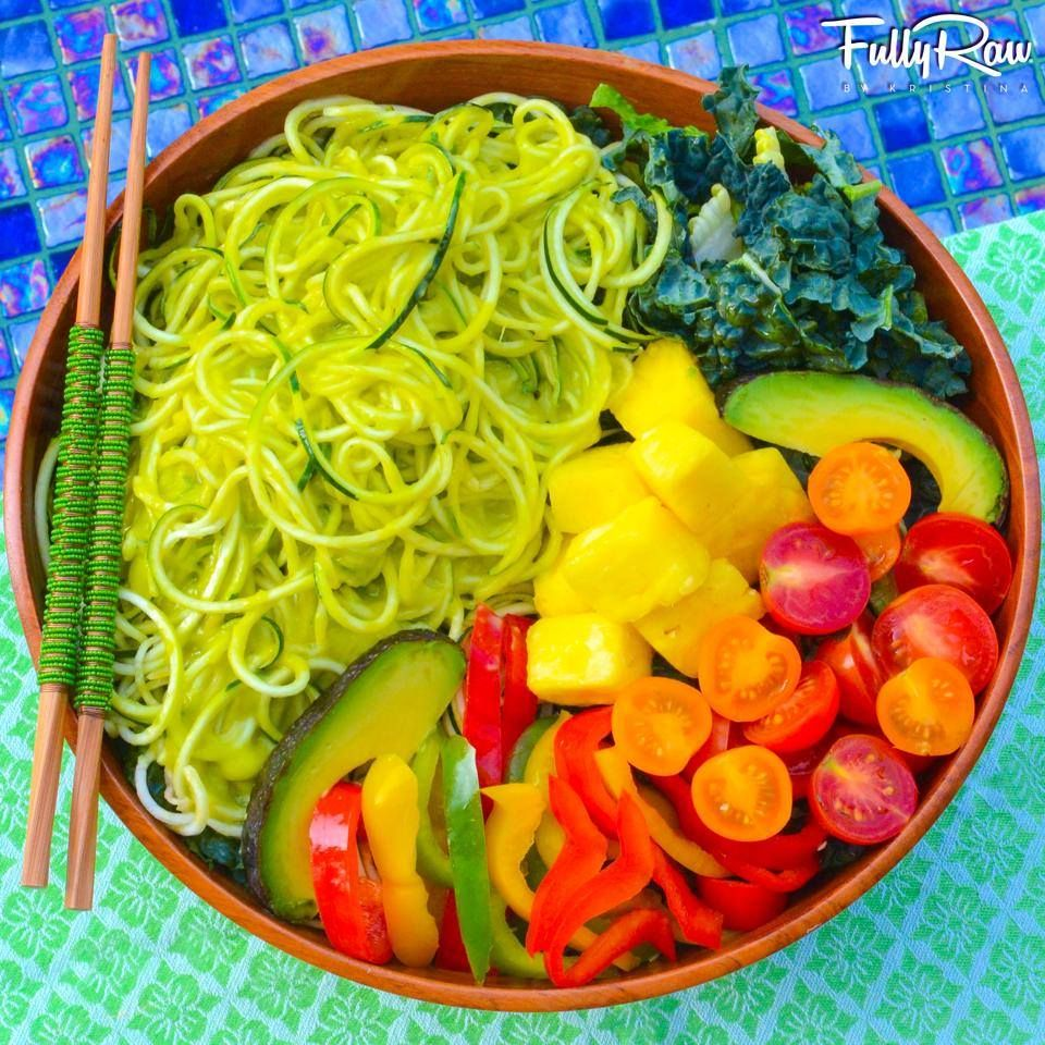 FullyRaw/Kristina Carrillo-Bucaram  -     -  The FOOD you eat can either the safest & most POWERFUL form of MEDICINE, or slowest form of poison. Tonight's FullyRaw Dinner: Dark greens topped with rainbow bell peppers, heirloom cherry tomatoes, pineapple, and avo slices with a side of my Mango Noodle Avocado Salad! Eat for life. Recipe for the mango noodles: http://youtu.be/uIpIHGfSSeo .  Kristina Carrillo-Bucaram Rawfully Organic Co-op www.instagram.com/fullyrawkristina