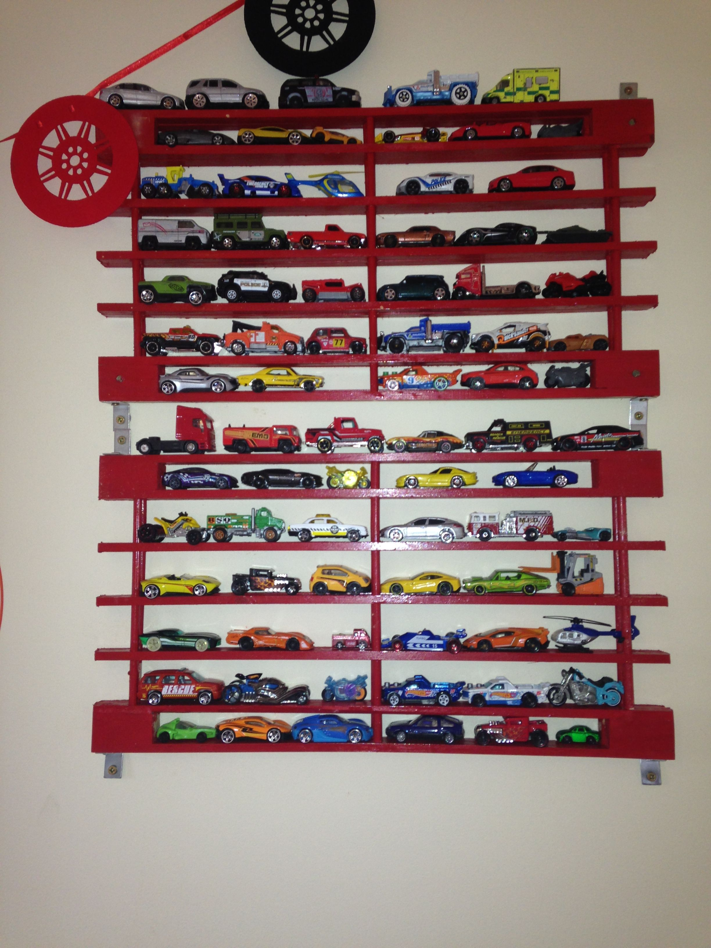 Matchbox car storage for the wall