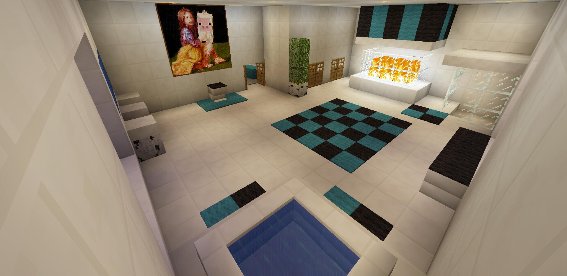 Minecraft Bathroom Garden Bath Tub Glass Shower Fireplace