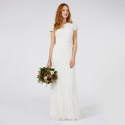 Nine by Savannah Miller Ivory \'Anabella\' frilled bridal dress ...
