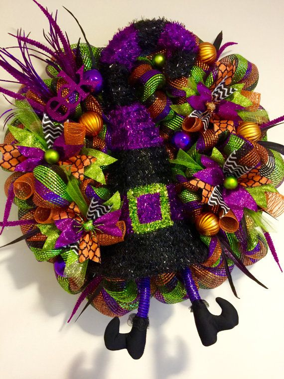 Halloween Wreath (LAST ONE on SALE) Deco Mesh, Witch Wreath-large