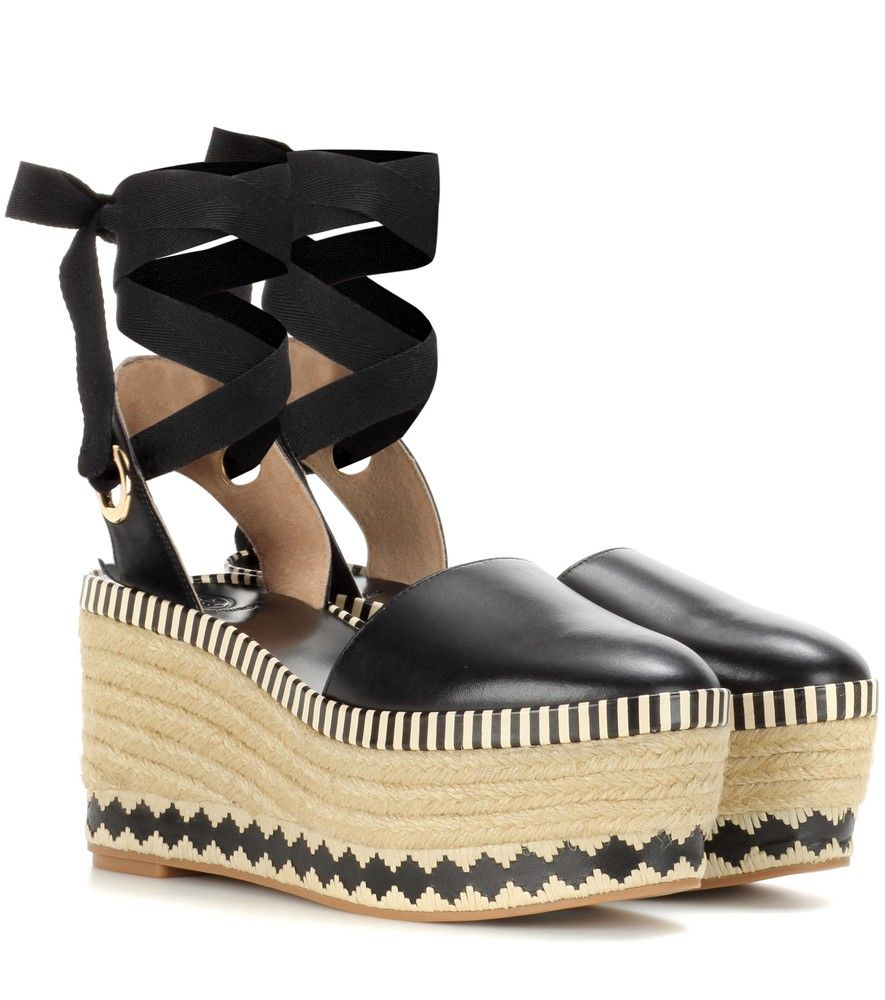15a2784582945 Tory Burch - Dandy 85mm leather wedge espadrilles - Tory Burch opts for a  distinctly summertime look with the Dandy 85mm espadrilles.