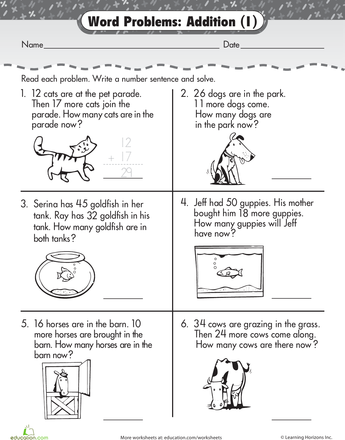 Word Problems Addition Worksheet Math