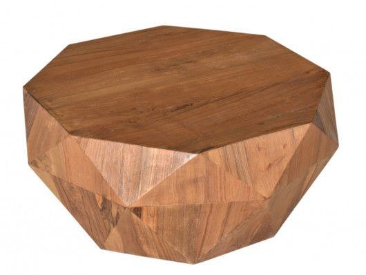 Table Basse Enigma Forme Octogonale Bois De Manguier Salon