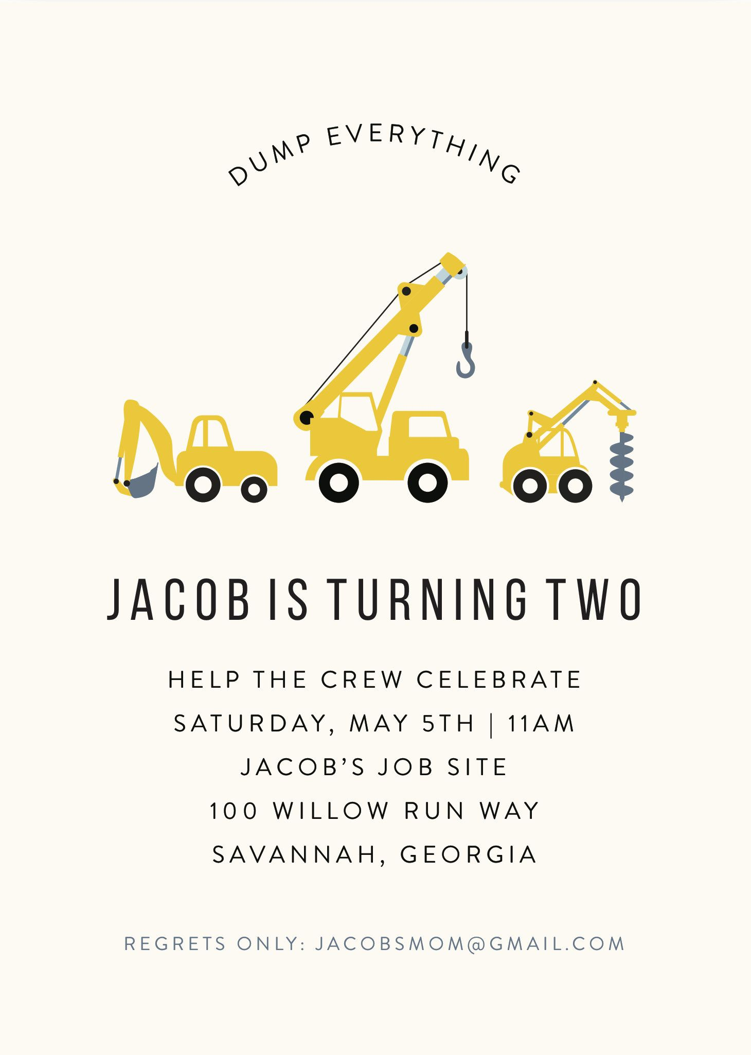 1st birthday construction invitation with diggers and dump trucks