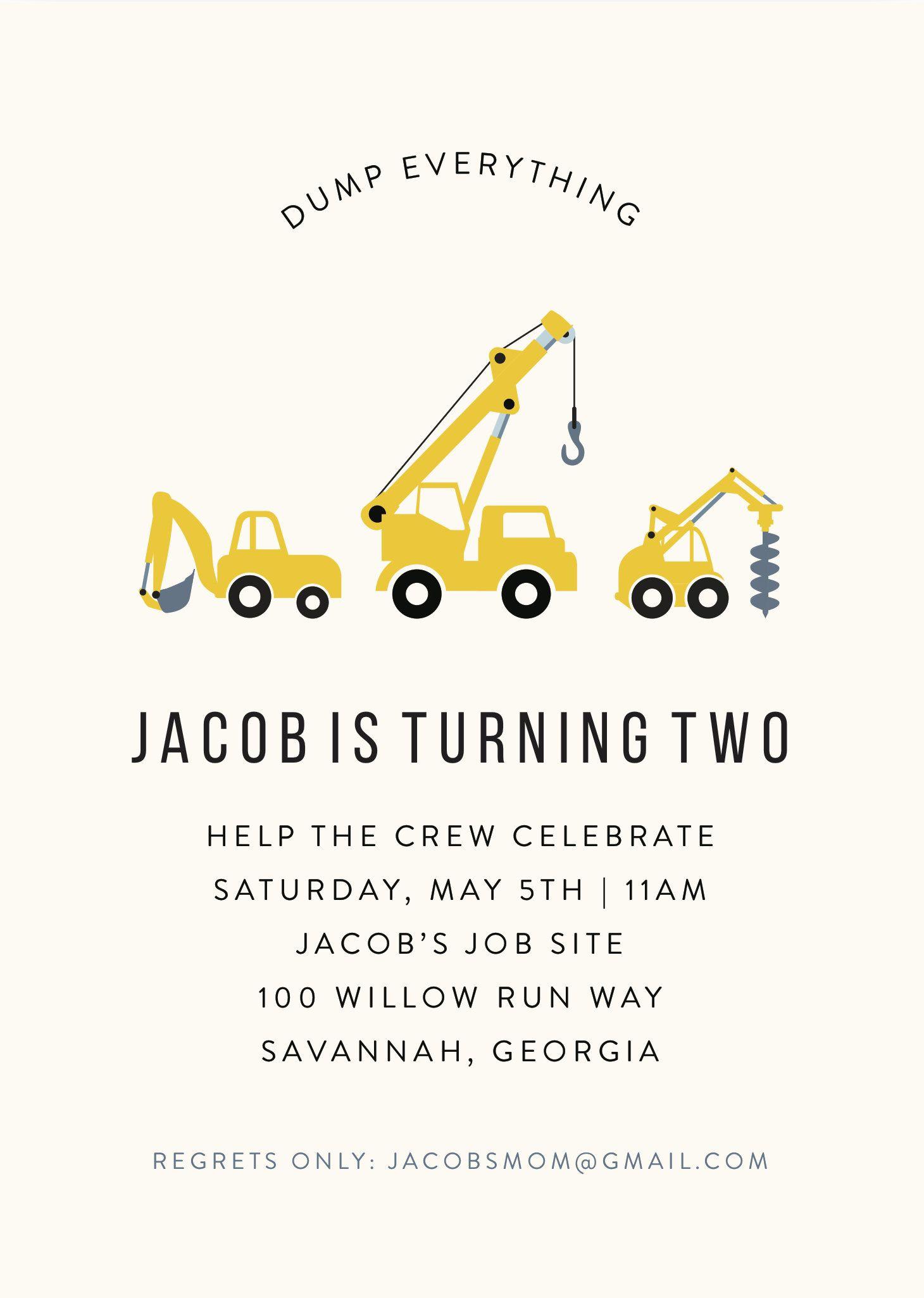 Dump Truck Under Construction Birthday Invitation | Invitation ...