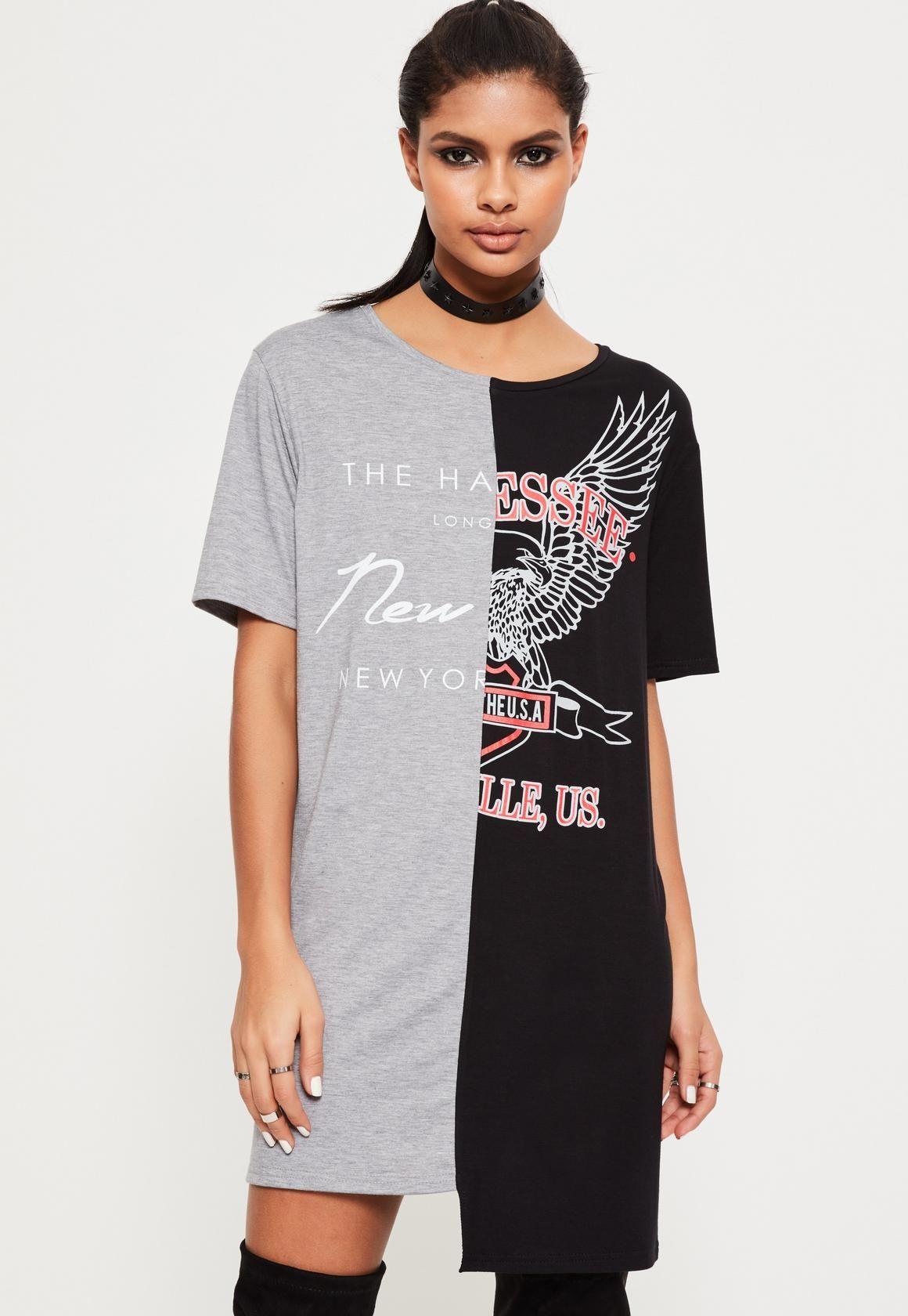 Missguided black split t shirt dress my graphic designs