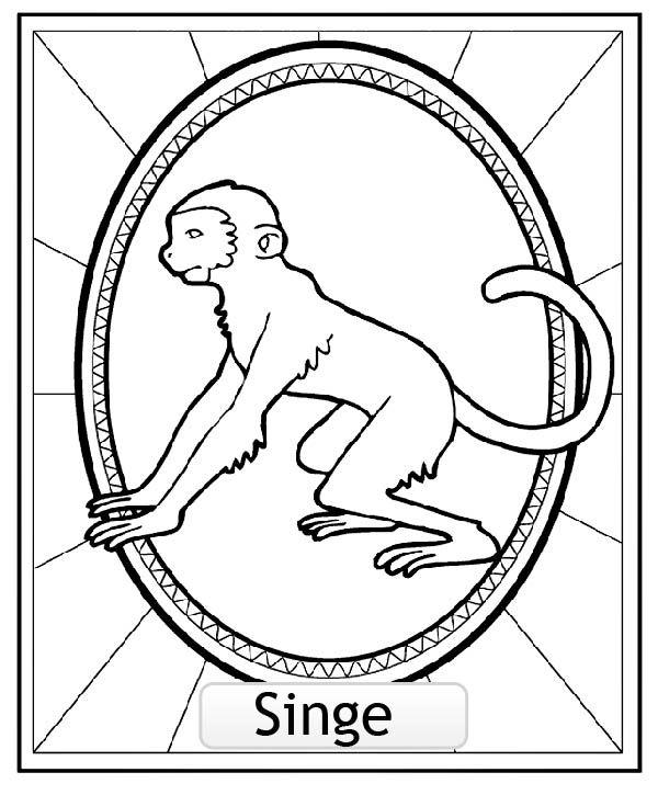 Coloriage signe astrologie chinois du singe a partir de - Coloriage chinois ...