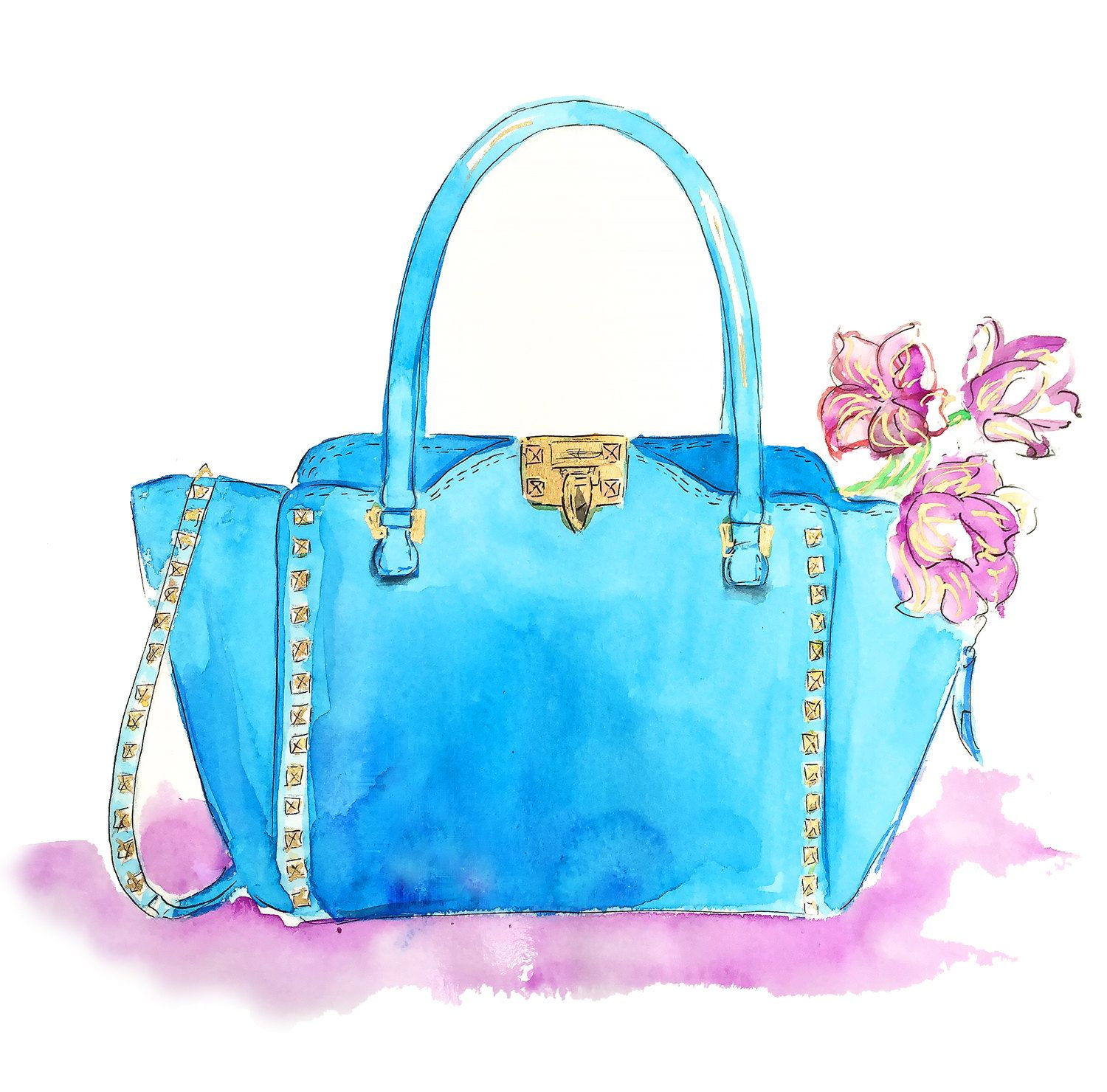 Fashion Illustration Print Valentino Bag Illustration Watercolor