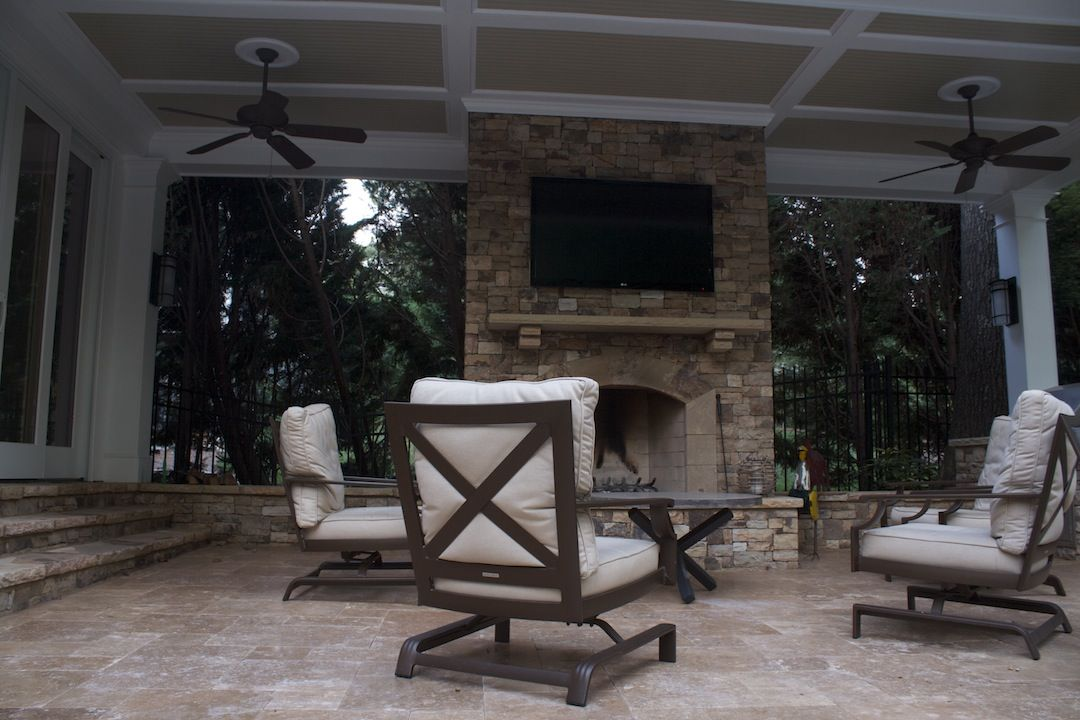 Outdoor Fireplace With TV Mount