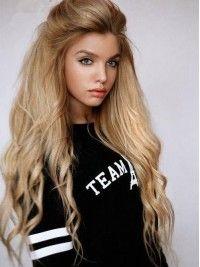 Prachtige Blond Lange Glatt Lace Front Echthaar Perucke Hh017
