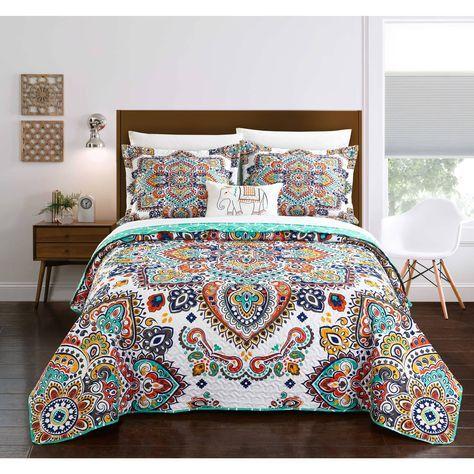 Chic Home Maha 8-Piece Reversible Aqua Paisley Quilt and Sheet Set (King, Aqua), Blue (Microfiber, Embroidered)