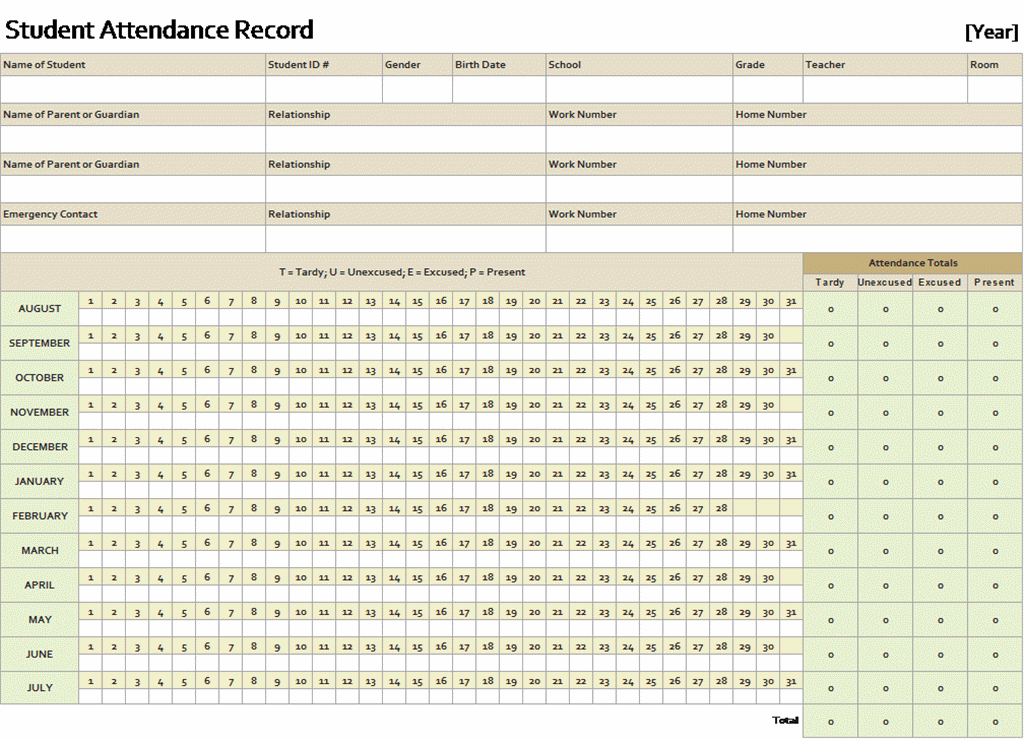Student Attendance Record  Templates  OfficeCom  Homeschool