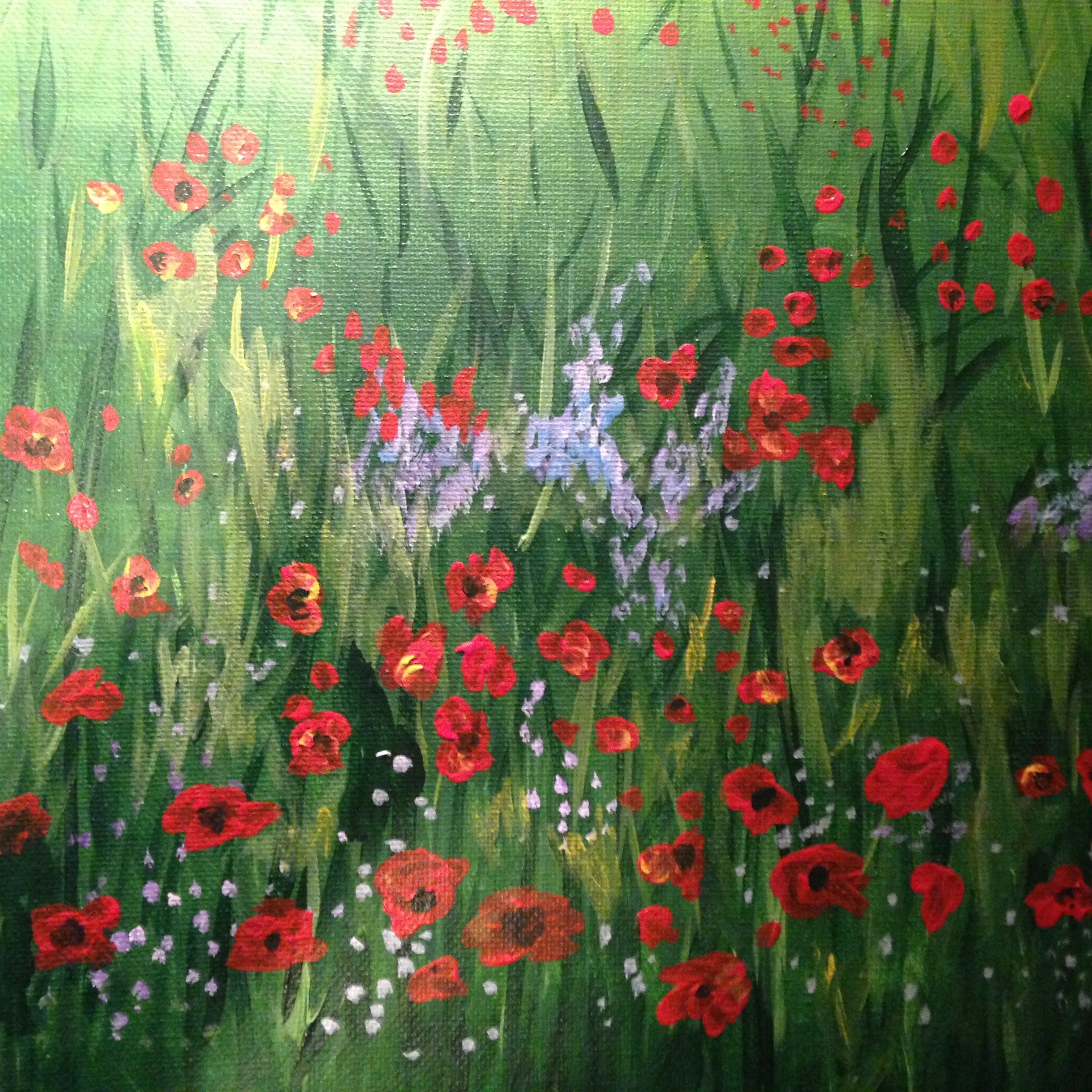 Easy Field Of Poppies Acrylic Painting Poppy Field Painting Painting Watercolor Paintings Abstract