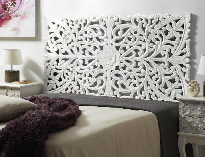 268 cabecero de madera tallada 3 cabecero de madera for Muebles marroquies online