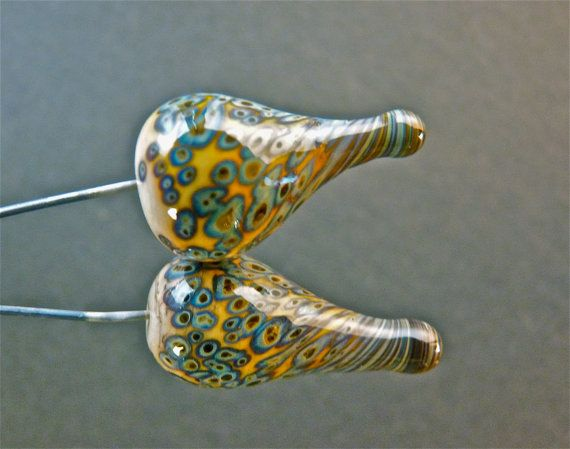 Two handmade glass headpins on sterling silver by FireForgedStudio, $10.00