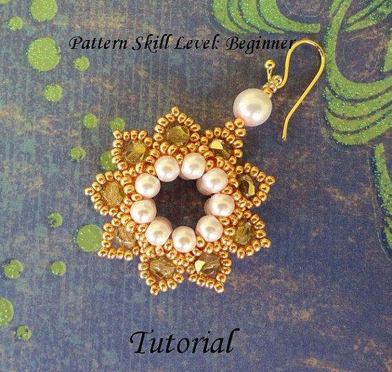 Beading tutorial instructions - beadweaving pattern beaded seed bead jewelry - beadwoven beadwork earrings - CLASSIC ELEGANCE
