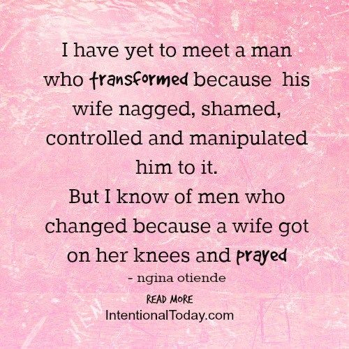 """Husbands change when wives pray. Here's who to change the conversation from """"fix the men and you'll fix the world"""" to """"fix us and through us our marriages might change"""""""