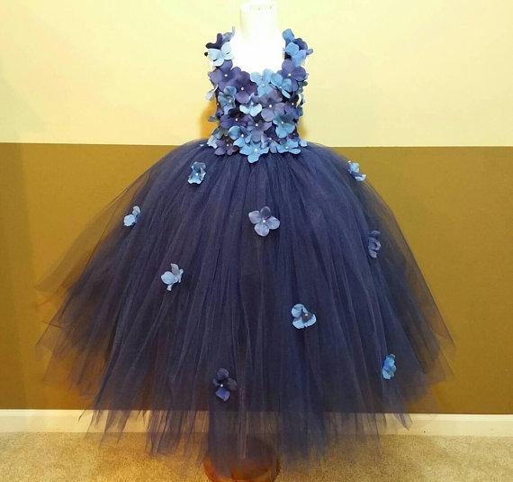 204a8ffe3b6 Navy hydrangea flower tutu dress  Flower girl dress Party dress(Aqua ...