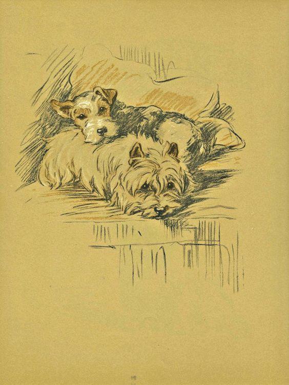 PALS Dog Print, 1930s Lucy Dawson, Antique Terrier Pet Print, Wall ...