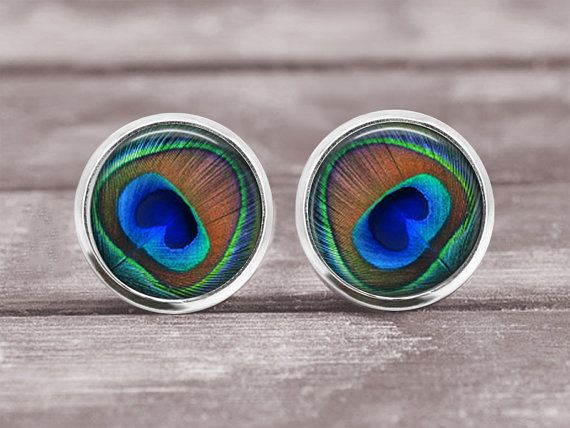 Post Earrings Jewelry  12mm Peacock Feather by MaDGreenCreations, $7.95