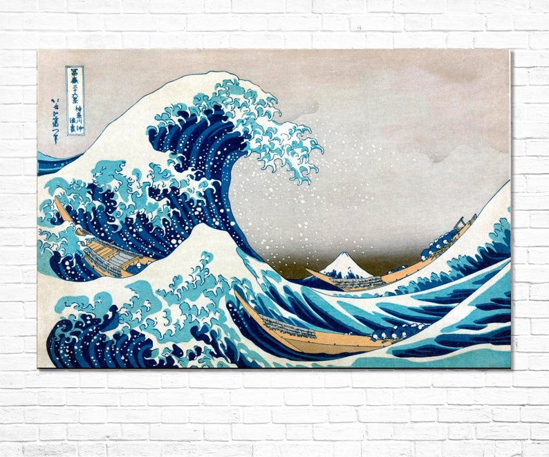 Katsushika Hokusai Great Wave Off Kanagawa Giclee Print Reproduction Painting Large Size Canvas Paper Wall Art Poster Ready To Hang Frame Hokusai Great Wave Japanese Artwork Japanese Art