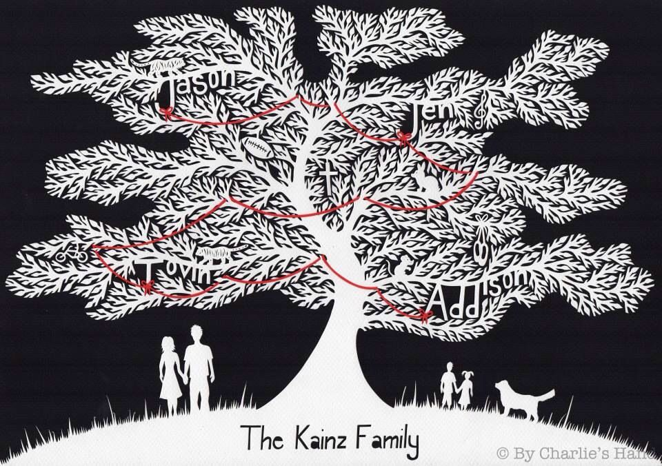 Family Tree Papercut By Charlies Hand Fully Customisable Available