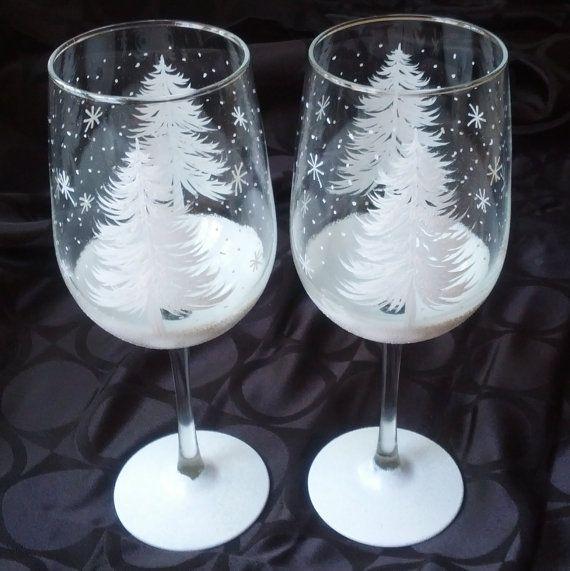 Christmas Tree Hand Painted Wine Glasses Hand Painted