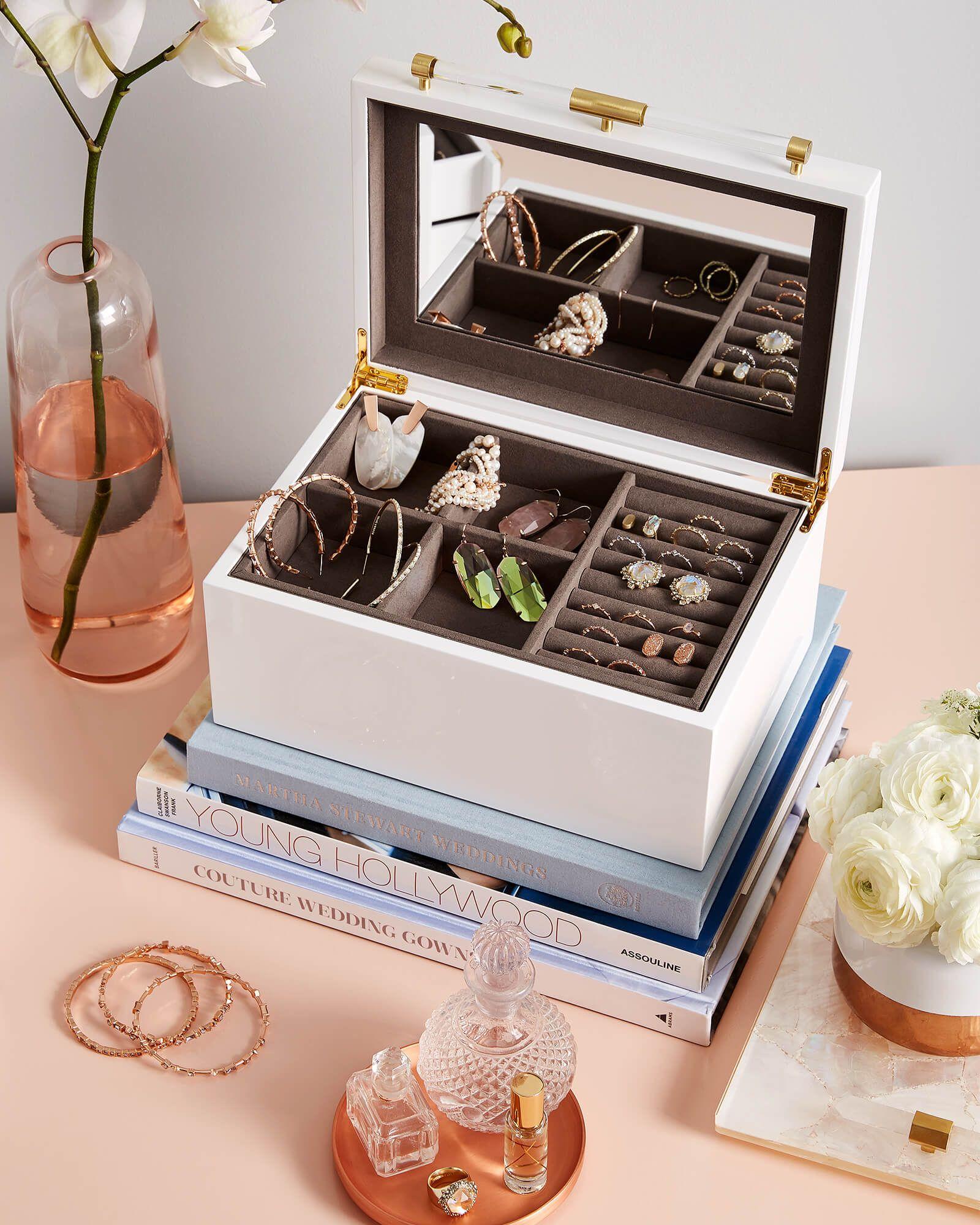 Medium Antique Brass Jewelry Box in White Lacquer Kendra