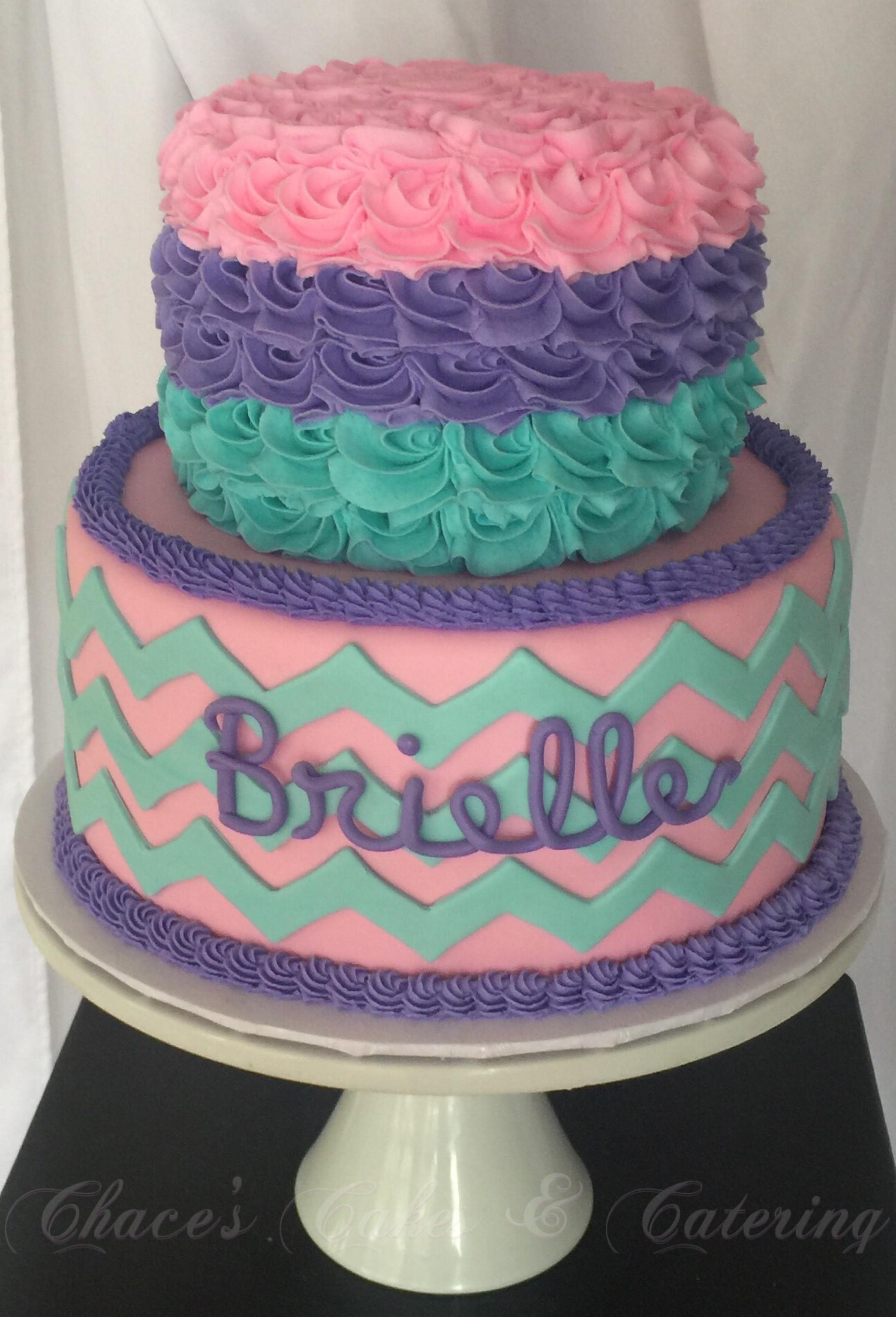 Pink, Teal & Purple Baby Shower Cake Httpswww
