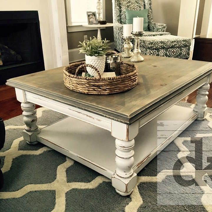 Distressed coffee table using satin white sanded top with