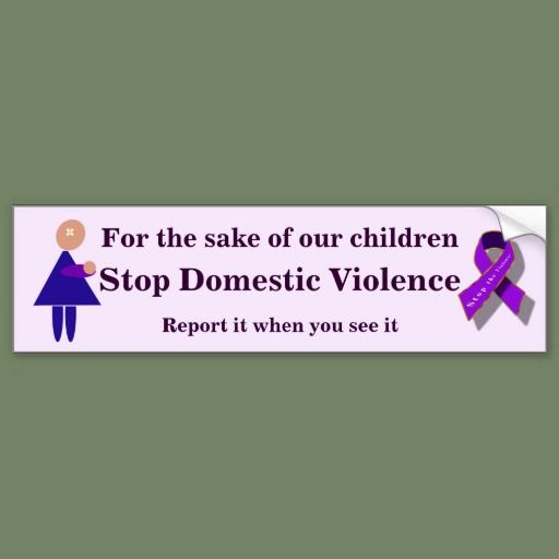 Stop domestic violence bumper sticker 3 95