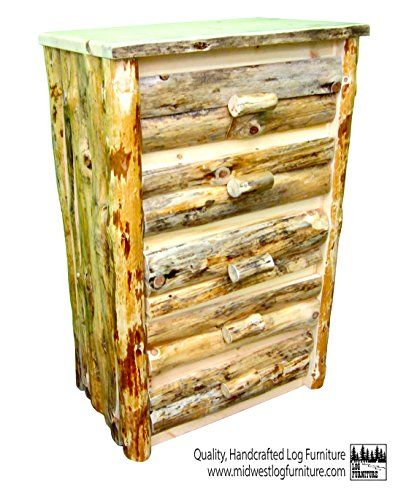 Midwest Log Furniture - 5 Drawer Northern Rustic Pine Log Dresser ...